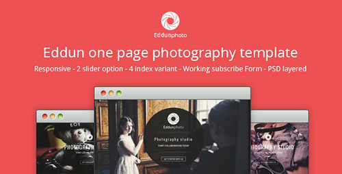 Eddun Photo One Page Photography Template