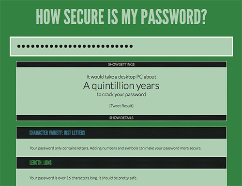 Example of how longer passwords help security