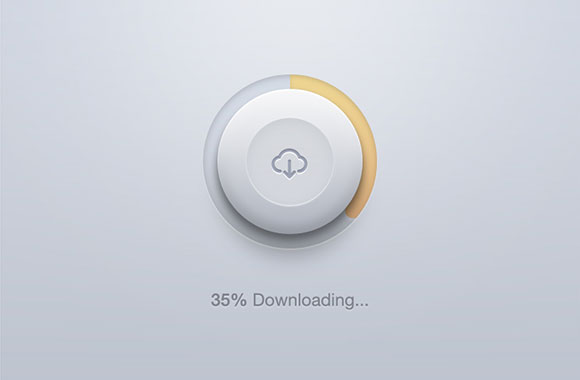 Rounded download button PSD