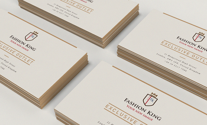 fashion king print business card design logo
