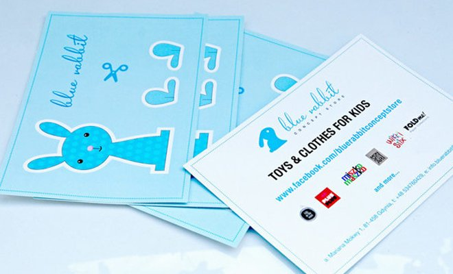 blue rabbit toys store print coupons branding concept