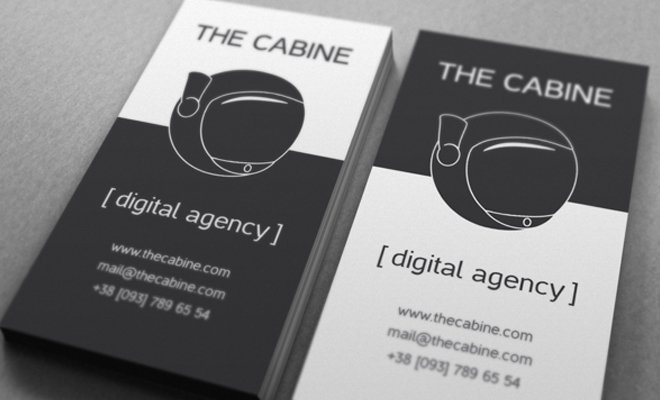cabine digital agency black white print cards