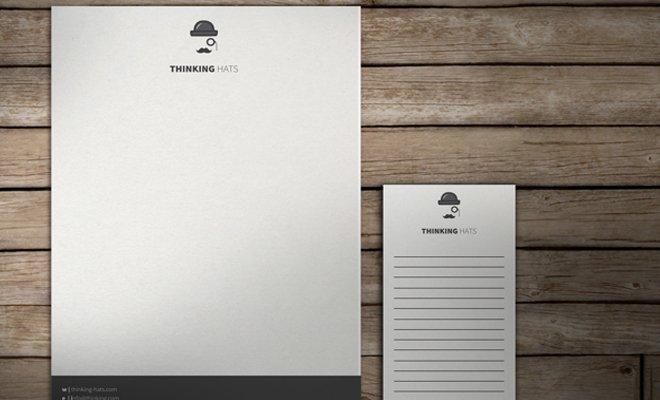 thinking hats mustache print branding letterhead inspiration