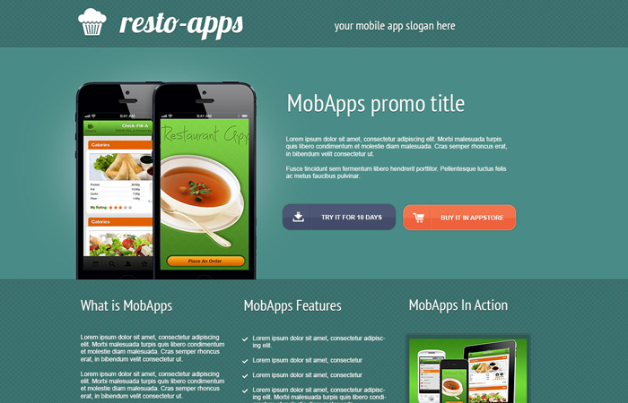 mobile app promo marketing website psd layout