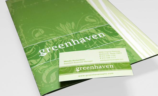 greenhaven community branding print design example