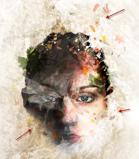 5 more leaves 550x627 Create Leafy Face Photo Manipulation in Photoshop