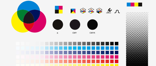 Complete set of Desktop publishing graphic symbol utilities showing color theory for Inexperienced Designers
