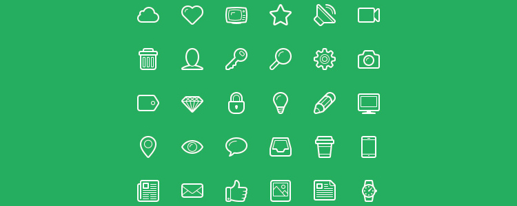 Linecons Free is A Free Line-Styled Icon Font with 48 Icons