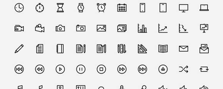 Outlined Icons by Dario Ferrando with 150 Icons