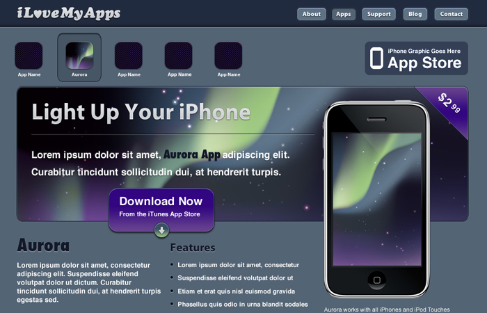 iphone app website design in photoshop