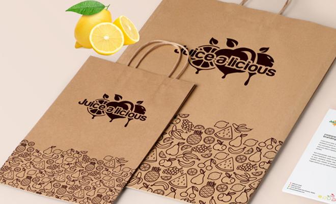 juicealicious juice print design branding package bags