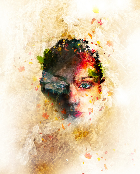 leaf face flatten 550x684 Create Leafy Face Photo Manipulation in Photoshop