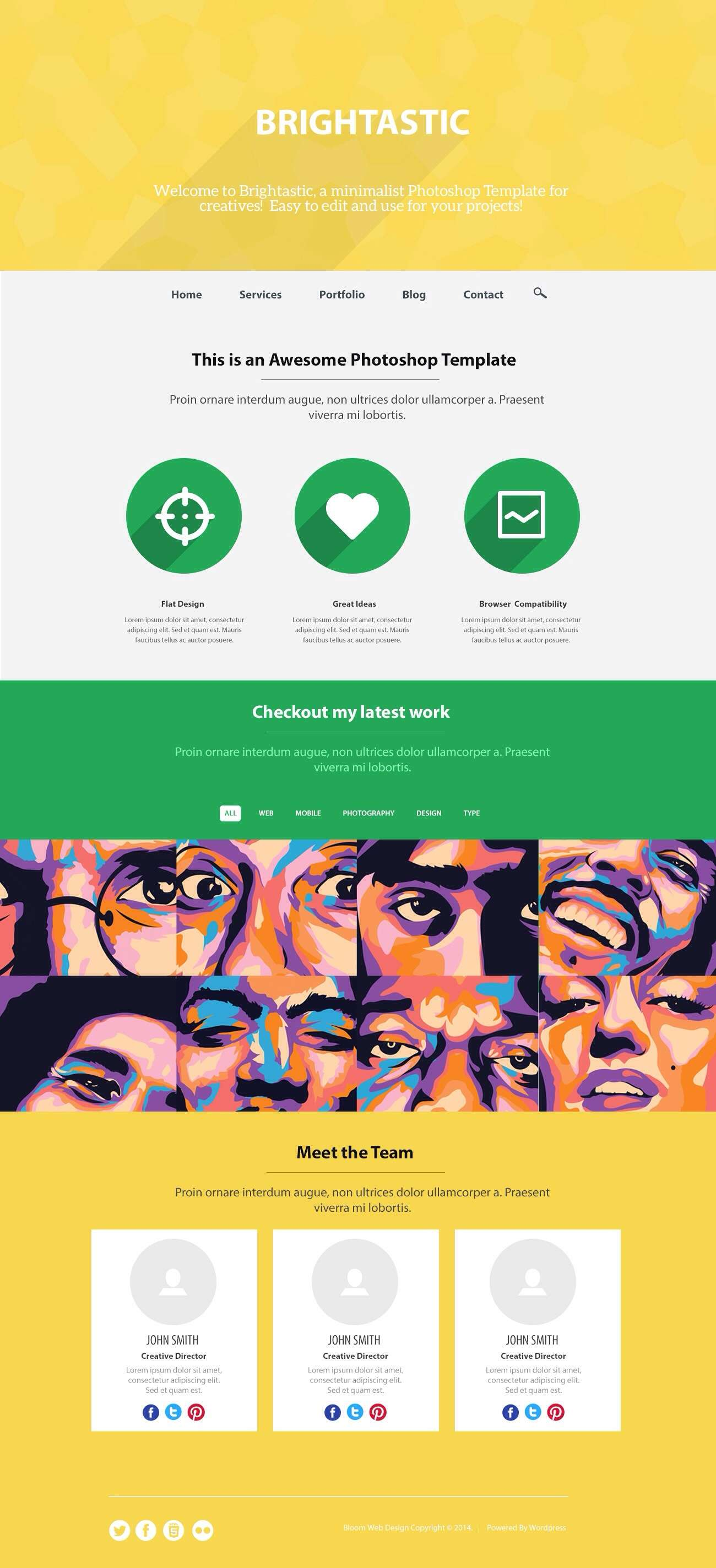 Brightastic: Free Website PSD One Page Template