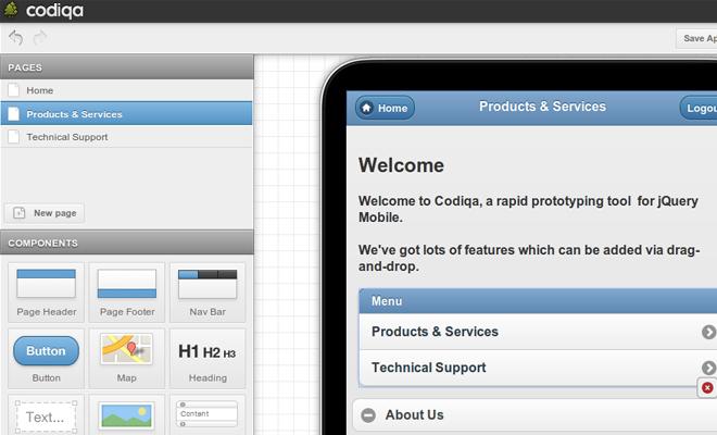 codiqa mockups wireframe prototyping tool webapp