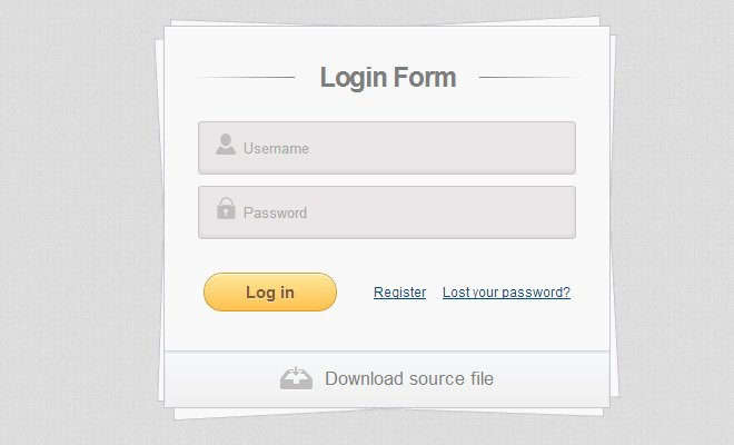 stacked paper login form design