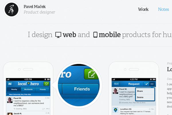 pavel macek website designer portfolio layout