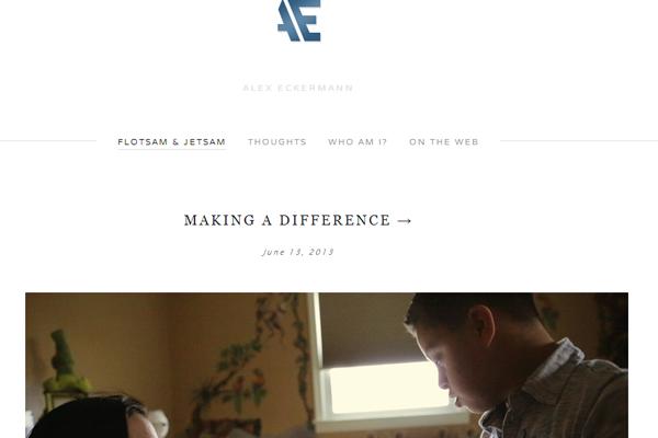alex eckerman portfolio website layout