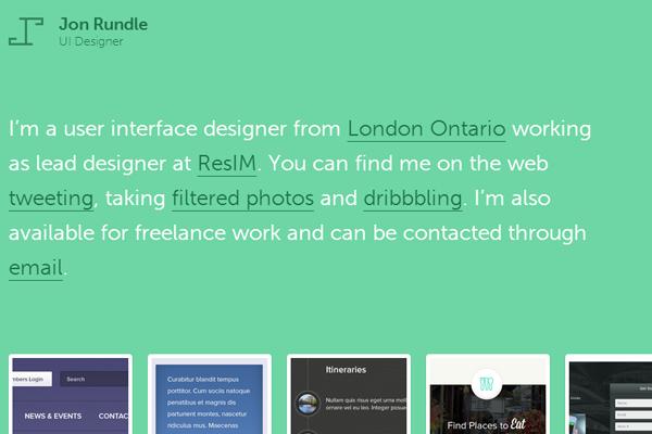 green portfolio website jon rundle
