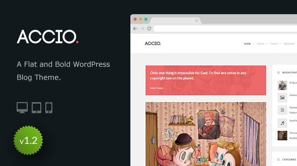 Accio – Flat and Bold WordPress Blog Theme