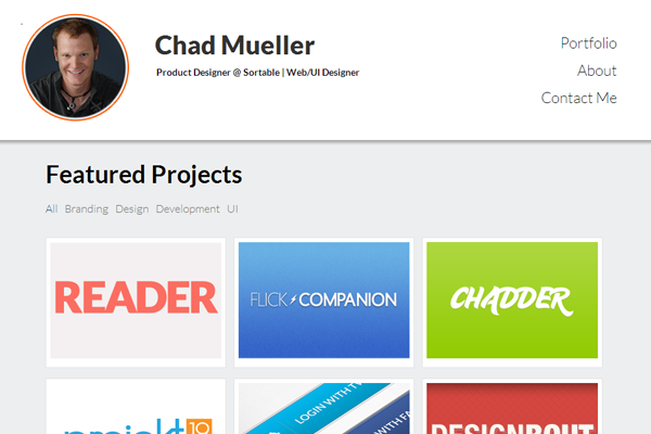 chad mueller portfolio website layout
