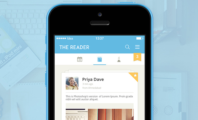 flat iphone reader app ui design