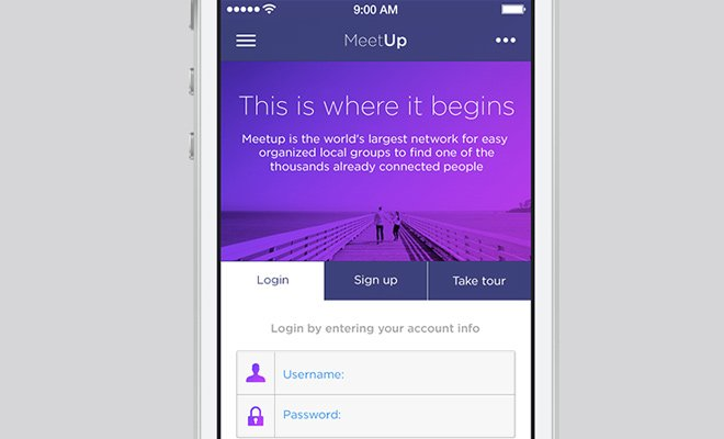 meetup iphone ios7 purple app ui