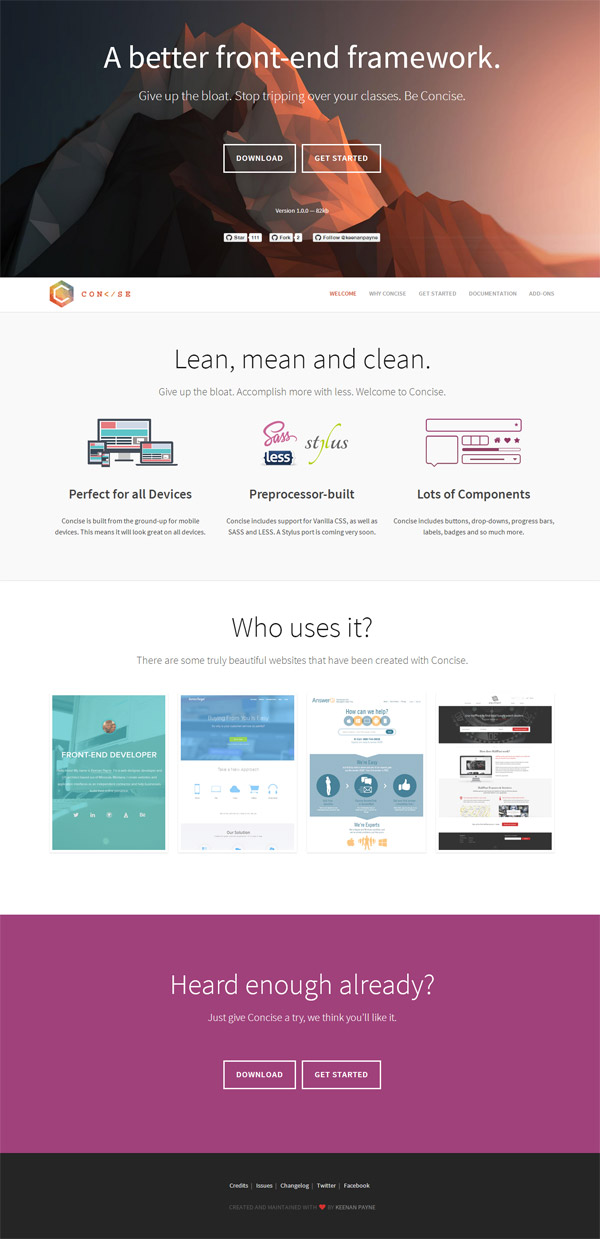 Concise Homepage by Keenan Payne