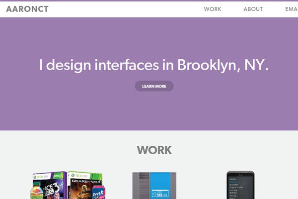 aaron freelance portfolio website layout