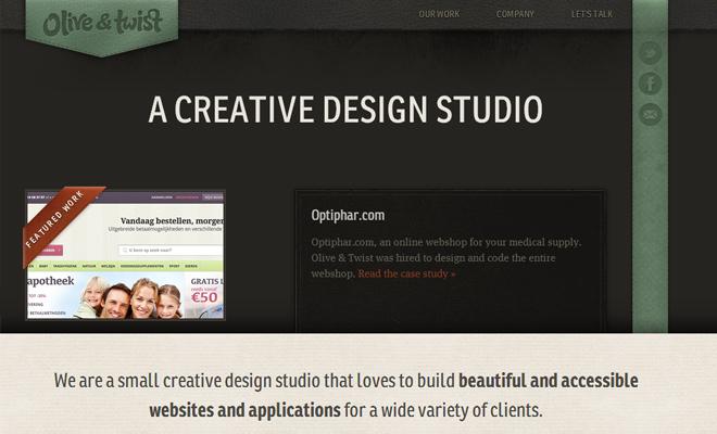 olive and twist dark portfolio website layout