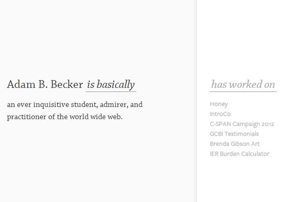 white minimal portfolio layout adam becker