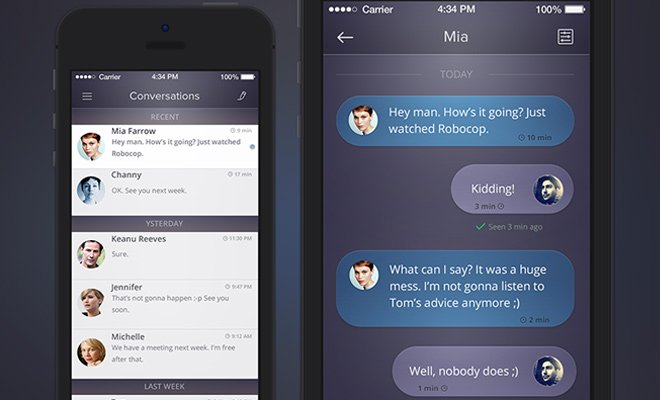 dark purple conversation chat ui iphone