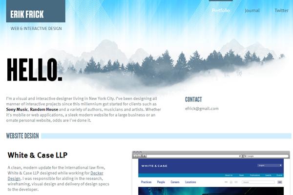 erik frick website clean portfolio