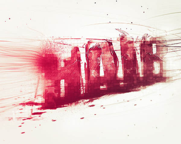 Design Abstract Text Effect with Pen Tool and Grunge Brush Decoration in Photoshop
