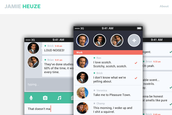 jamie heuze website designer layout inspiration