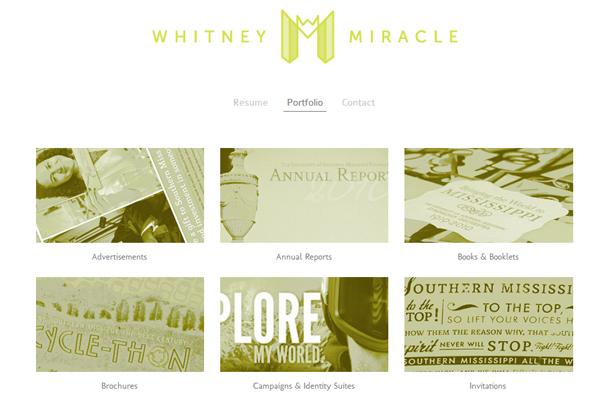 white simple portfolio layout whitney miracle