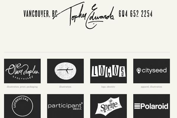 topher edwards website layout portfolio