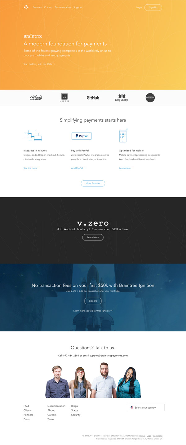 Braintree Homepage by Stephen Patterson