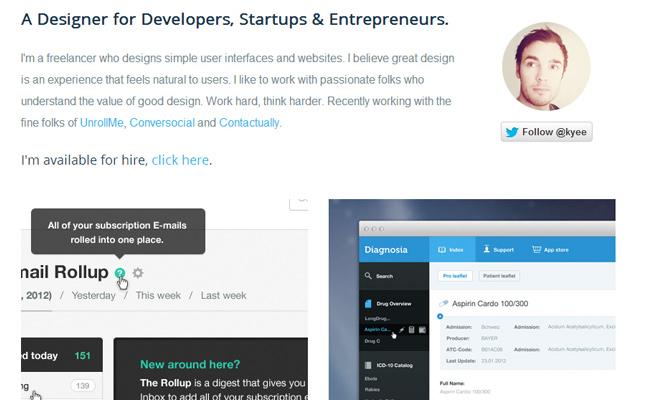 designer developer kyee freelance portfolio website