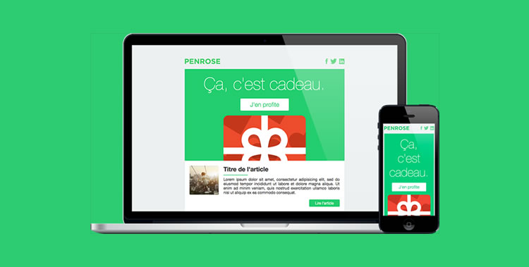 responsive Flat Newsletter template free predesigned