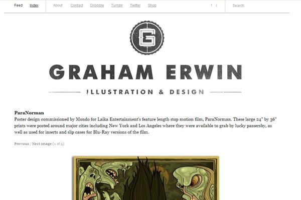 graham erwin website portfolio layout