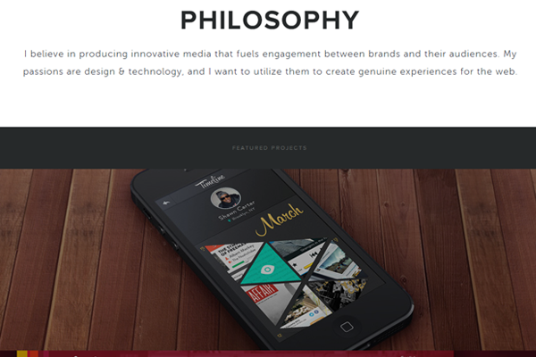 cody sielawa portfolio website layout