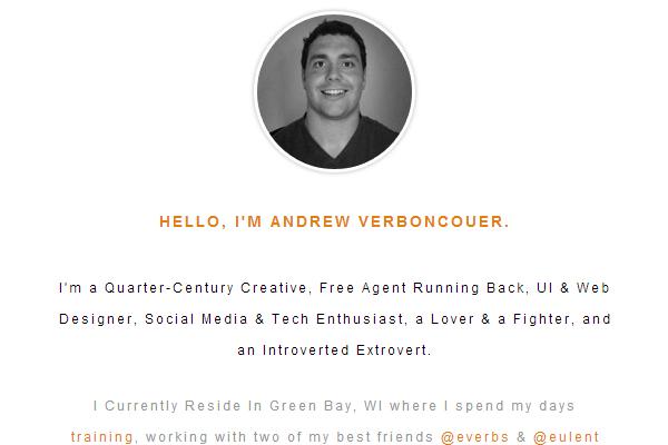 andrew verboncouer website portfolio layout
