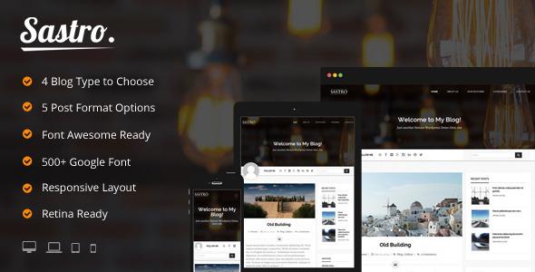 Sastro - 4 Personal Blog Type WordPress Theme