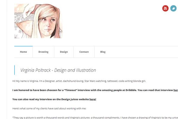 virginia poltrack website layout minimalist
