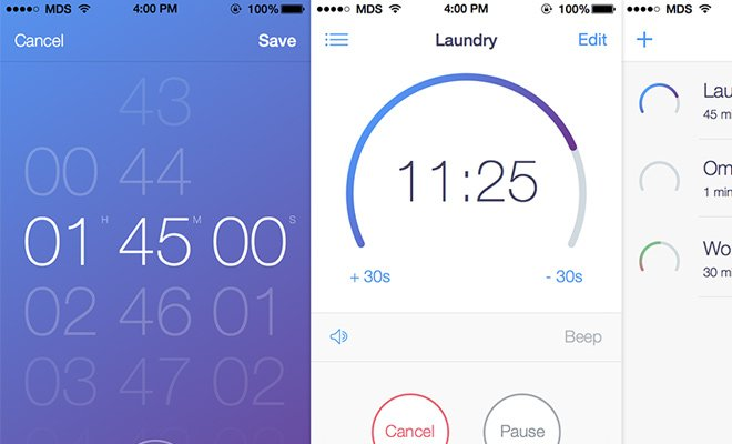 timer plus ios7 flat app design