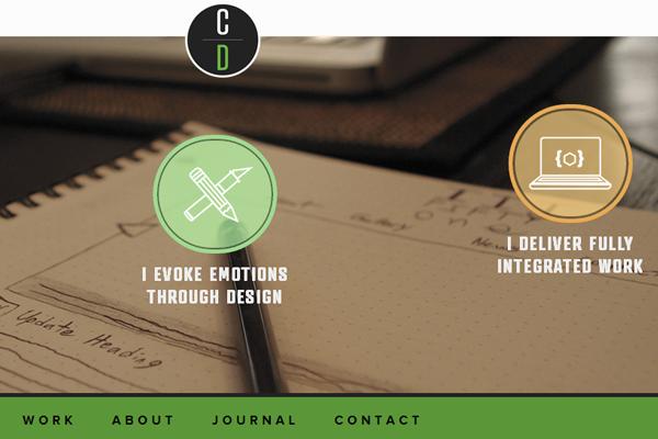 chris dasie website portfolio layout
