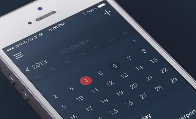 ios7 flat ui dark calendar app