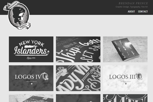 brendan price website portfolio layout