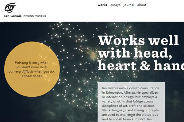 ian grivois designer portfolio website layout