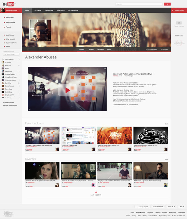 YouTube Website Redesign by Alexander Abusaa